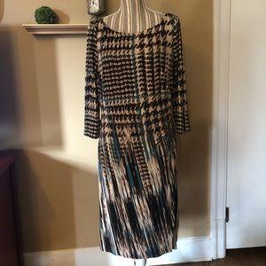 Ann Klein ruched waist print dress